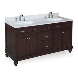 Kitchen Bath Collection - Amelia 60-in Double Sink Bath Vanity (White/Chocolate) - This bathroom vanity set by Kitchen Bath Collection includes a chocolate cabinet, soft close drawers, self-closing door hinges, white marble countertop with stunning beveled edges, double undermount ceramic sinks, pop-up drains, and P-traps. Order now and we will include the pictured three-hole faucets and a matching backsplash as a free gift! All vanities come fully assembled by the manufacturer, with countertop & sink pre-installed.
