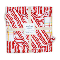 Working Class Studio - Bacon n' Eggs Collection, Bacon Gift Set - Everyone's favorite breakfast side makes a surprisingly stylish modern stripe pattern that's perfectly suited for the kitchen. This complete set includes a bacon stripe apron, oven mitt, pot holder and tea towel with a second accent tea towel in a coordinating plaid to fill your kitchen with sizzle and pop. The cooking smells will be up to you.
