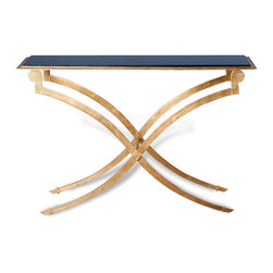 Kathy Kuo Home - Maybeck Cross Leg Antique Gold Leaf Console - With a granite top and gold leaf legs, elegantly crossed, the Maybeck draws references from Deco and Hollywood Regency styles to deliver a gorgeous statement all its own.