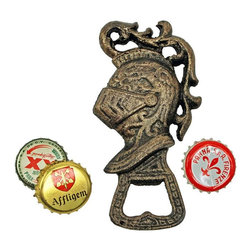 "EttansPalace - Regal Knight Beverage Opener - Though we can't guarantee that royalty would pop open their own beverages if they had this 19th-century quality iron replica, we do guarantee that it would be more fun! 2""W x .5""D x 4.5""H. 1 lb."