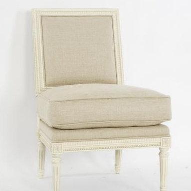 Pair of Two Fireside Slipper Chairs (Linen) -