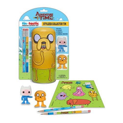 KOOLEKOO - Adventure Time Jake Tin pencil set - Jake holds onto your office supplies! This Adventure Time Jake Tin-Tastic Pencil Set with Tin features the bendy dog as a cylindrical tin can that comes with an Adventure Time with Finn and Jake sticker sheet, 2 pencils, and 2 figural erasers shaped like Jake the Dog and Finn the Human.