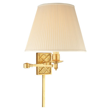 Gene Swing Arm, Natural Brass - Near or far, the retractable arm of this swing lamp will allow this light to let off such luminosity. The natural brass base creates a intriguing woven pattern on your wall, which perfectly offsets the creamy classic shade.