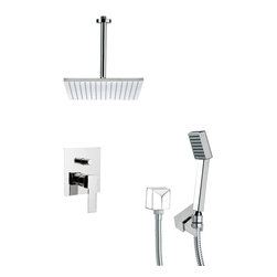 Remer - Chrome Square Shower Faucet with Handheld Shower - Single function shower faucet.