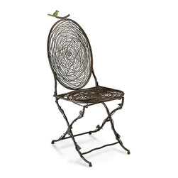 Bird Chair - A comfortable cameo-backed caf� chair takes on a hint of breezy springtime style with vine-wrapped, bark-textured legs in sensuous curves and an organic wire nest texture on back and seat.  The Bird Chair, which is finished in a muted, cloudy metal patina for a sense of provenance, perfectly mingles bistro elegance with garden-art whimsy for an updated, classic look.