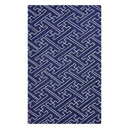 """nuLOOM - Contemporary 7' 6"""" x 9' 6"""" Navy Hand Hooked Area Rug UZB54 - Made from the finest materials in the world and with the uttermost care, our rugs are a great addition to your home."""