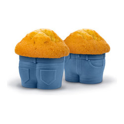 Fred and Friends - Muffin Tops Baking Cups, Set of 4 - We've all seen this look before, but not like this! Fill these adorable jean-style cupcake pants with your favorite cake batter. As Muffin Tops bake, they develop that little extra bulge around the middle! Eat up, it's just more to love. Colorful gift box packaging with baking tips.