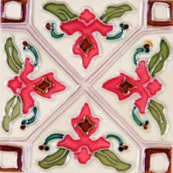 """Glass Tile Oasis - Tulipan 6"""" x 6"""" Pink 6"""" x 6"""" Deco Tiles Glossy Ceramic - All ceramic tiles are hand painted. Glazed thickness will vary from tile to tile, resulting in color variation. Hand-Painted Ceramic tiles will craze and crackle over time, which is intentional and a desired effect."""