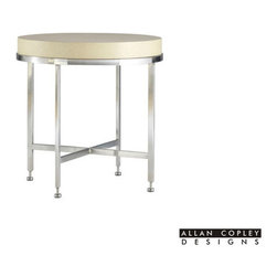 Allan Copley Designs - Allan Copley Designs Galleria 25 Inch Round End Table w/ White on Ash Top in Whi - The Galleria Collection by Allan Copley Designs brings it all together. Design. Form. Function. Style. The Galleria has it all. With its Brushed Stainless Steel Base and White on Ash Top, this smartly crafted design will elevate the presentation of your room's decor. Clean, Smart design has never been so effective. The Galleria Collection includes Round Cocktail, Round End and Console Table with Drawer. What's included: End Table (1).