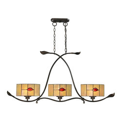Dale Tiffany - Dale Tiffany Fantom Leaf Modern/ Contemporary Kitchen Island / Billiard Light X - Dale Tiffany Fantom Leaf Modern / Contemporary Kitchen Island / Billiard Light X-15421HT