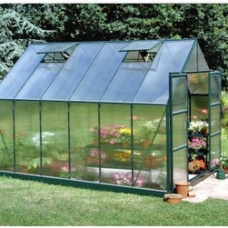 Halls Magnum Green 8 x 10-Foot Greenhouse - Additional Features Double doors make it easy to bring in larger items Superb twin wall has double the heat retention of glass Diffuses the light to prevent your plants being burned Lightweight and virtually unbreakable 4mm thick double-walled panels Includes aluminum or plastic strips to attach to the ends Strips prevent objects getting stuck between the layers UV resistant coating protects your plants Beautiful green frame adds a classical touch Door measures 48W x 71H inches Sidewall measures 4.5 feet Peak height measures 8 feet Measures 8W x 10L x 8H feet With its green frame and classic beauty the Halls Magnum 8 x 10-foot Greenhouse is sure to bring you joy. Made with the best features available your plants will grow and thrive in any season. The Halls Magnum Greenhouse features cast joints and additional struts at the eaves and ridge to give this greenhouse extra strength. An additional six inches was added to the ridge and eaves to not only increase headroom but also to make room for hanging plants. To make sure your plants are protected and won't burn this greenhouse is made with strong and durable polycarbonate glazing to diffuse the light and has a UV resistant coating. The superb 4mm thick doubled-panel twin walls have twice the heat retention of glass and include aluminum or plastic strips to prevent foreign objects from getting stuck in between the panes. The greenhouse has four roof vents for increased circulation and double doors that make it easy to bring in a wheelbarrow or wheelchair. Measuring 8W x 10L x 8H feet you'll have no trouble finding the perfect spot for this greenhouse. Assembly is a weekend project for one or two people. About The Greenhouse Connection LLCThe Greenhouse Connections was established in 1993 to connect gardeners who are looking for a well-made traditional English greenhouse with Halls Garden Products Ltd. of England the world's leading manufacturer of hobby greenhouses. By networking with a variety of people and companies including independent garden centers nurseries mail-order garden and seed catalogs and greenhouse supply companies The Greenhouse Connection does just that. Their offices are located in Grant Pass OR.