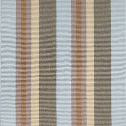 Dash & Albert - Dash & Albert Max Indoor/Outdoor Rug by Bunny Williams - Designer Bunny Williams collaborates with Annie Selke to create an irresistible line of transitional area rugs for your everyday home. Dash & Albert Max Indoor/Outdoor Rug by Bunny Williams rugs are hoseable, srcubable and made from recycled materials. Wide natical stripes in blue, olive, yellow, brown and grey. These indoor/outdoor rugs are so soft and durable that you can use them in any room inside or outside on a patio or deck