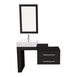 "JWH Imports - 33.5"" to 57"" Scorpio Wall Mounted Vessel Sink Modern Bathroom Vanity Set - Save space while adding style to your bathroom with a wall-mounted sink and vanity. The modern design gives you room to displaying your daily essentials and two drawers for keeping things organized. Add a contemporary faucet to the crisp porcelain sink for a beautifully polished look."