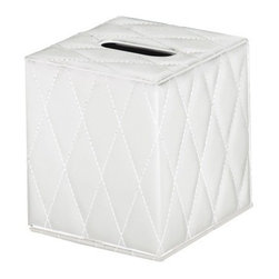 Gedy - White Square Faux Leather Tissue Box Cover - Trendy, decorative tissue box holder made of white faux leather.