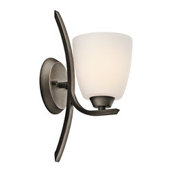 KICHLER - KICHLER Granby Transitional Wall Sconce X-ZO85354 - The rich tones of the Olde Bronze finish accentuates the subtle blend of modern and traditional elements for a unique look on this Kichler Lighting wall sconce. From the Granby Collection, a single satin etched opal glass shade completes the look.