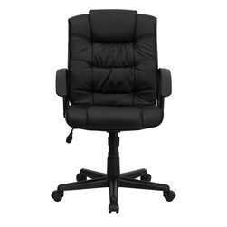 Flash Furniture - Mid-Back Black Leather Office Chair - Affordable leather computer chair will provide you with the comfort needed for browsing the internet. The mid-back design makes it a perfect desk chair especially for smaller work spaces, but still doesn't compromise on its appeal and features.