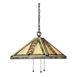 Z-Lite - Z-Lite Shalimar Pendant Light X-B30-54-81Z - Rich in earth tones, this tiffany style Pendant Light is a mixture of honey beige and variegated green glass in mission styling. To compliment the warm light of this fixture, hardware is finished chestnut bronze, creating the ultimate natured inspired look.