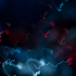 Abstract Prints on Aluminum - Dark blue and teal light with red traces
