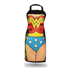 Wonder Woman Apron - Need a little courage to tackle tougher recipes? Don this Wonder Woman apron, and you'll feel like an invincible chef, guaranteed. One size fits all — yes, even men.
