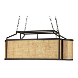 Currey & Company - Wiggins Rectangular Chandelier - A rounded rectangular shape with a post-industrial feel is accentuated with a natural burlap/jute diffuser. The Black Wrought iron is a nice contrast to the natural material.
