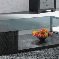 Armen Living - Modern Coffee Table in Dark Chocolate - This exclusively designed coffee table features chic angular lines, geometric beauty, and rich materials such as wood, metal, and glass that have been artistically rendered into modern metropolitan form. Assembly required.