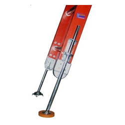LADDER LEVELERS LLC - 600 Ladder Leveler - XTENDA-LEG(TM) Ladder Leveler level a ladder in seconds with Unlimited - Adjustment Positions - Legs extend or retract Extremely Strong - Shafts made of solid steel Zinc plated to protect against rust Has high grip rubber feet for firm surfaces Great for working on stairs and uneven surfaces Set of 2 Extend-Leg(TM) - enough for 1 ladder Levels type II, I and 1A ladders up to 32 ft. 600 Ladder Leveler.