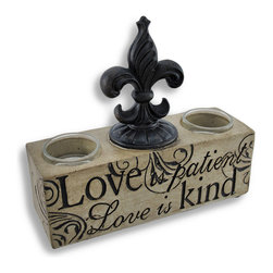 Zeckos - Love is Patient Fleur de Lis Tealight Candle Holder - This tealight candle holder adds a delightful accent to shelves, mantels, or tables, featuring neutral colors that are sure to complement most any decor. It reads 'Love is patient, love is kind' and accommodates 2 tealight candles (not included) up to 1 1/2 inches in diameter. Made of cast resin, it measures 7 1/2 inches long, 6 3/4 inches high, and 2 1/2 inches deep. Use it with LED tealights for worry free accent lighting anywhere in your home. This piece makes a great wedding gift that is sure to be admired.