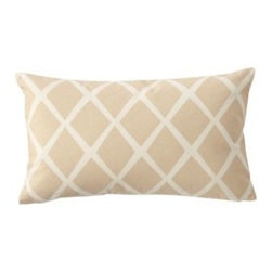 Serena & Lily - Diamond Lumbar Pillow Cover Bisque - Such a simple design, yet so striking. On a backdrop of creamy bisque, the loosened-up lines in soft white take on the look of a block print. We love the idea of mixing several shades together to create the ultimate color story.