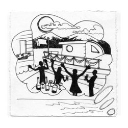 Jessica's Houseboat Part Three (Original) by Michele Fritz - Part 3 in a 5 part series of pen and ink drawings illustrating the story of Jessica.