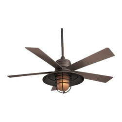 Minka Aire Fans - 54-Inches Ceiling Fan with Five Blades and Light Kit - F582-ORB - Perfect for outdoor and indoor locations, this ceiling fan captures the blending of industrial and craftsman style. The included wall control regulates speed and light level. An integrated light kit with vintage amber glass provides ambient light and is protected with a steel cage. Includes 3-1/2-inch and 6-inch downrods with an integrated sloped ceiling adapter. Takes (1) 100-watt halogen T4 bulb(s). Bulb(s) sold separately. Dry location rated.
