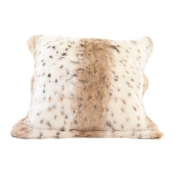"Posh Pelts - Lynx Jacquard Faux Fur Pillow Cover with Caramel Faux Suede Back - The Lynx Jacquard faux fur pillow cover is rich and elegant. Fibers are approximately 3/4"" and are tightly woven to create a thick soft fabric. Tan and white stripes are accented with black / grey spots. Colors are eye-pleasing. The pillow cover has a 2 faux fur flange around all edges, is backed by camel-colored faux suede and conceals a zipper on the back side. It nicely accents subtlety patterned decor of black / brown / neutral / cordovan tones. PoshPelts faux fur throw blankets that complement the Lynx pillow cover: Lynx, Raccoon Tail, Black Bear and Arctic Fox. Other pillow covers that look nice with the Lynx are: Raccoon Tail, Chinchilla and Arctic Fox. Features: -Pillow cover. -Content: faux fur 80-85% acrylic, 15-20% polyester: faux suede 100% polyester. -Add dimension and interest with matching or coordinating throws and pillow covers. -Jacquard Faux fur front. -Caramel color faux suede back. -Concealed zipper. -Fits standard 16"" x 16"" insert: Has 2"" faux fur flange around all edges. -Fibers approximately 3/4"" in length. -Superior quality and craftsmanship. -Machine wash cold; no heat dry; dry cleaning recommended. -20"" H x 20"" W, 0.2 lb."