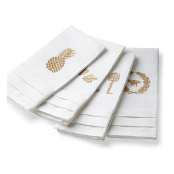 Frontgate - Set of Four Pleated Linen Guest Towels - Perfect for a powder room or guest bath. Woven of 55% linen and 45% cotton, the towels are soft, durable and quick to dry. Finished with a double pleated edge. Neutral linen-colored embroidery thread complements most any decor. Makes a great holiday, hostess or wedding gift. Crisp and clean guest towels lend a sophisticated touch to a powder room or guest bath. Woven of a soft and durable linen/cotton blend, our exclusive set is even more impressive with four charming embroidered designs: Bee with Crest, Fleur-de-lis, Pineapple and Vintage Key.  . .  .  .  . Arrive in an elegant gift box. Machine wash. Imported.