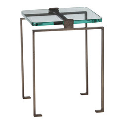Arteriors - Fisher Accent Table - Give your living spaces a lift with this sleek and sculptural table. For a small space, you'll love how the thick glass top floats over the iron frame for an open, airy look. The iron base gives this accent table a strong industrial stance, ready to anchor even a larger room.