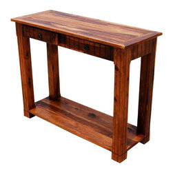 Solid Wood 2 Storage Drawer Sofa Entryway Console Table - Wonderful Rectangular Hand Crafted Accent/Hall Table.