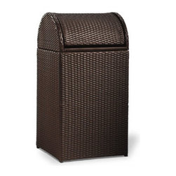 Grandin Road - Logan Outdoor Wicker Trash Can - Grandin Road - Enduring, tightly-woven, all-weather wicker. Sturdy powdercoated aluminum frame. Integrated hooks hold trash bag in place. The Logan Outdoor Wicker Trash Can is perfectly proportioned. Our upgrade of a generally overlooked utility will make a surprisingly refined difference in the overall appearance of your open-air living spaces.  .  .  .