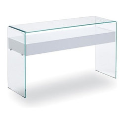 Sovet Italia - Sovet Italia | Bridge Hall Console Table With Drawer, 34-Inch - Design by Studio Sovet, 1988. Simple lines and functionality define the 34-Inch Hall Drawer Console Table. Featuring a single drawer supported by a bent glass frame, this table is perfect for foyers and entryways. For a clean look, pair clear or cool toned lacquered glass with the White Oak finish. For warmth and depth, opt for a warm toned lacquered glass with a rich wood finish. The 34-Inch Drawer Console Table blends seamlessly with modern designs. Clear and Extralight glass are distinguishable by the glass edge color. Traditional clear features a green tinted edge. Extralight glass is more transparent than traditional clear glass and features a clear blue tinted edge.