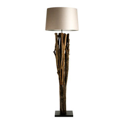 Zentique - Puricatione Caotico Floor Lamp - Illuminate your favorite setting with something truly one of a kind. This floor lamp's driftwood base (supported inside with metal) is as elegant as it is rustic, and reflects your affection for the sea.