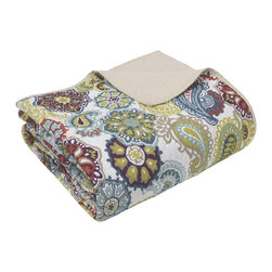 Mi-Zone - Mizone Asha Quilted Reversible Throw - The Asha comforter set is a fresh look to the contemporary paisley pattern with an eclectic mix of colorful florals and medallions. Made from polyester microfiber,this quilted throw is soft to the touch and machine washable for easy care.