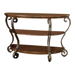 Signature Design by Ashley - Sofa Table w Scrolled Legs - Tops made with select veneers in a medium burnished finish. Scroll legs have wirework detail. Metal is finished in a warm light bronze color finish. 48 in. L x 19 in. W x 30 in. H (55.22 lbs)