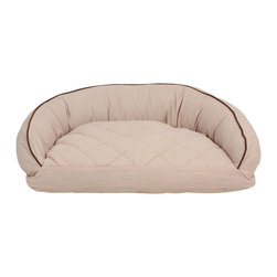 Carolina Pet Company - Microfiber Semi Circle Lounge, Linen, 35x23x12 - The perfect curl up spot for your pet.  Luxurious microfiber with quilted sleep top keeps pets happy and healthy.  Recycled high loft Polyester fill relieves pressure on hips and joints to keep your pet healthy.  Moisture barrier layer protects against any accidents.  Zippered removable cover for easy care and machine washing.