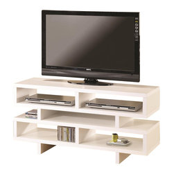 Coaster - Coaster Contemporary TV Console with Open Storage in White - Coaster - TV Stands - 700721 - Brighten up your living space with this fresh white TV console. Crisp geometric styling draws the eye and creates a pleasant sense of balance. Free of drawers doors and knobs this simple piece holds all of your electronics and media in five open compartments. The top panel of this console accommodates a TV set up to 46 inches in diameter.