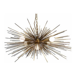 Urchin Sputnik Style - Vintage inspired brass urchin sputnik style chandelier. Crafted with hundreds of gold metal spines from a gold center base. Five candelabra-base light sockets take standard 25W bulbs. Piece comes ready to hang with matching chain and canopy.