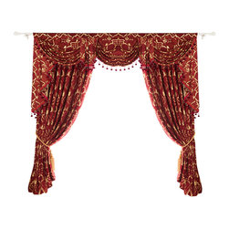 "Ulinkly.com - Red Autumn, 54""*84"", 2 Panels with Valance - This price includes 2 panels and valance, each panel is 54""/84"", 100% Chenille."
