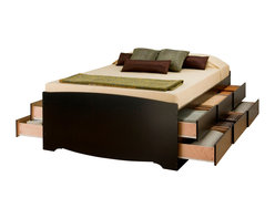 Prepac Furniture - Prepac Tall Queen Platform Storage Bed in Black with 12 Drawers - This functional, attractive, constructed of composite woods Tall Queen Platform Storage Bed in Black with 12 Drawers by Prepac Furniture will bring to your room style and comfort! Each storage solution offers large drawers for ample storage. Ths what you get with this modern designed, functional, stunning storage bed. It is an all-in-one bedroom suite under your mattress! The drawers have plywood sides and metal drawer runners and mattress support slats are plywood.