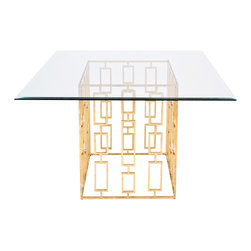 Worlds Away - Worlds Away Jackson Gold Leaf Square Dining Table - An open rectangle formation provides the Worlds Away Jackson dining table geometric appeal. Topped with square glass, the contemporary gold furnishing shimmers for sophisticated glamour. Made from iron; Gold leaf finish; Beveled glass top in two sizes
