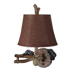 """Kathy Ireland - Country - Cottage Honey Bear 19"""" High Swing Arm Wall Lamp - For the rustic lodge or country decor enthusiast this swing arm wall lamp features black bear and multi-wood finish log accents for a charming and playful look. A textured brown empire shade complements the hues in the arm and tree-ring backplate and is held in place by a decorative log finial. A generous 24"""" arm extension lets you position the light exactly where you need it whether that is next to a bed or above your favorite reading spot. Easy to install this design plugs into any standard outlet. Swing arm wall lamp. Multi-wood brown finish. Black bear and tree log accents. Faux leather shade. Takes one 100 watt medium base bulb (not included). Plugs into any standard outlet. 19"""" high. 24"""" arm extension. Shade is 8"""" across the top 12"""" across the bottom 9"""" high.  Swing arm wall lamp.  Multi-wood brown finish.  Black bear and tree log accents.  Faux leather shade.  Takes one 100 watt medium base bulb (not included).  Plugs into any standard outlet.  19"""" high.  24"""" arm extension.  Shade is 8"""" across the top 12"""" across the bottom 9"""" high."""
