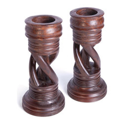 Go Home - Pair of Wooden Spiral Candlesticks - Create a dramatic, stately look with these Candlesticks.Perfect accent for any decor.It is nicely crafted with wood.Place it between your dining table, sure it will enhance the beauty of your table.