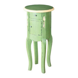 Sterling 6500523 Stanis Mahogany End Table, French Green - When you are short on space and want a little French country table to hold your shelter mags, this little guy would do the trick. The two cute drawers are functional, and the whole piece is made out of mahogany.