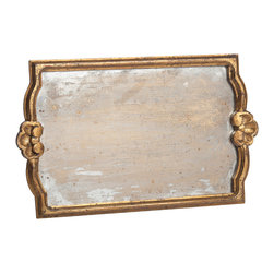 Abigails - Vendome Gold Tray with Antiqued Mirror, Large - A simple frame with gold leafing surrounds a faux antiqued mirror bottom. Mellow yet interesting. Nice tray for displaying your best collection of glass items.