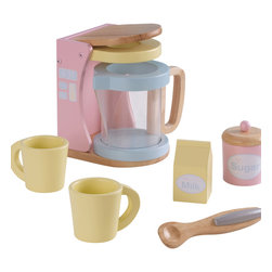 """KidKraft - Kidkraft Kids Children Home Indoor Pretend Play Cooking Toy Pastel Coffee Set - Kids may not be old enough for coffee quite yet, but they will love our new Pastel Coffee Set. This wooden 7-piece set is perfect for young children who like to act just like mom and dad. Dimension: 5.75""""Lx 5""""Wx 6.75""""H"""